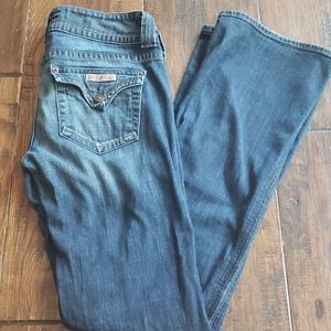 Hudson bootleg distressed jeans.